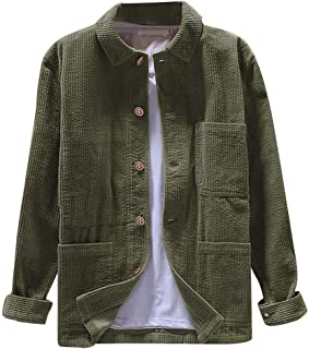 Mens Shirt Jacket Corduroy Button Down Long Sleeve Ribbed Fall Tops Casual Solid Brushed Shirts