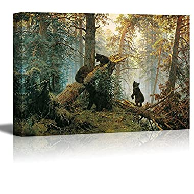 wall26 - Morning in a Pine Forest (Black Bears Playing on Fallen Broken Trees) Painting by Ivan Shishkin Giclee Canvas Prints Wrapped Gallery Wall Art | Stretched and Framed Ready to Hang - 24  x 36