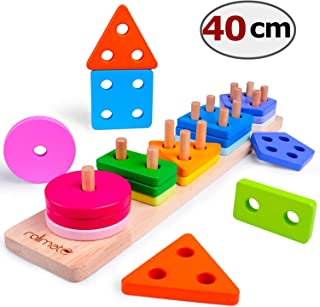 Wooden Educational Toys Best Birthday Gifts for 1 2 3+ Years Boy Girl Toddler Preschool Shape Sortor Montessori Developmental Color Recognition Blocks Sorting Stacking Preschool Toys Non-Toxic (16IN)