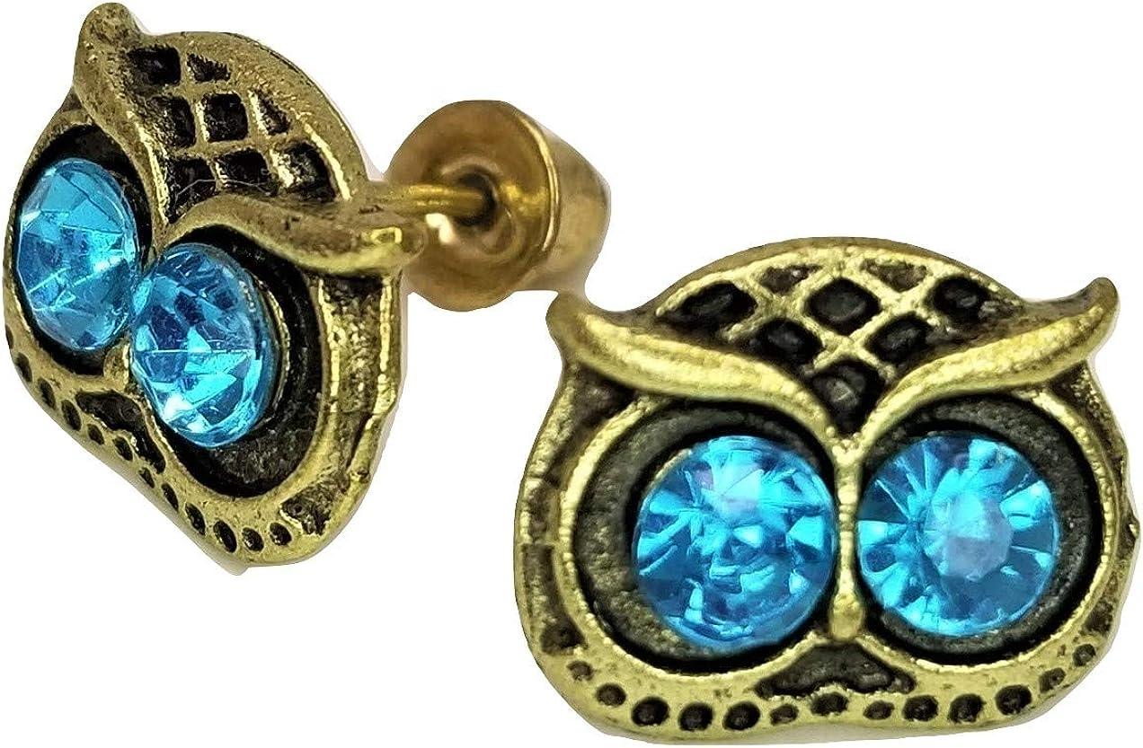 Owl Face Stud Post Earrings - New - Pair!