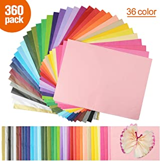 Superise 252 Sheets 42 Multicolor Tissue Paper Bulk Gift Wrapping Tissue Paper Decorative Art Rainbow Tissue Paper 20 x 14 for Art Craft Floral Birthday Party Festival Tissue Paper Pom Pom
