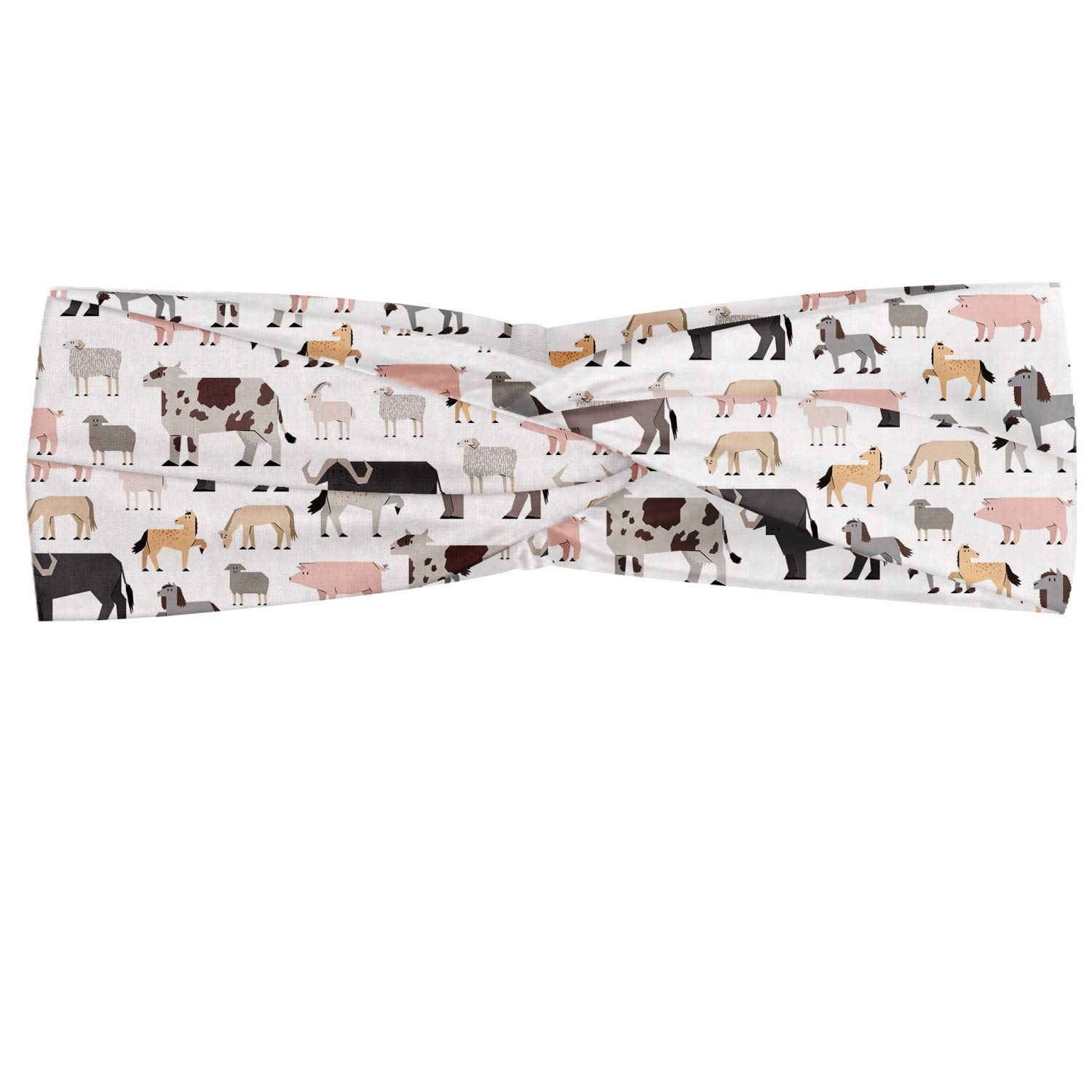 Ambesonne Cattle Headband, Composition of Graphic Sketch Cattle Animals as Ox Goat Pig and Buffalo, Elastic and Soft Women's Bandana for Sports and Everyday Use, Multicolor