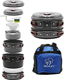 Bulin 27/13/11/8/6 PCS Camping Cookware Mess Kit, Nonstick Lightweight Backpacking Cooking Set, Outdoor Cook Gear for Family Hiking, Picnic(Kettle, Pot, Frying Pan, BPA-Free Bowls, Plates, Spoon)