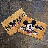 Gertmenian Disney Mickey Mouse Doormat Rug Retro Classic Entryway Floor Mat Carpet, 2 Pack Coir 20x34, Orange Tan Hello Home