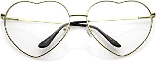 Oversize Metal Heart Shaped Clear Lens Eye Glasses 71mm