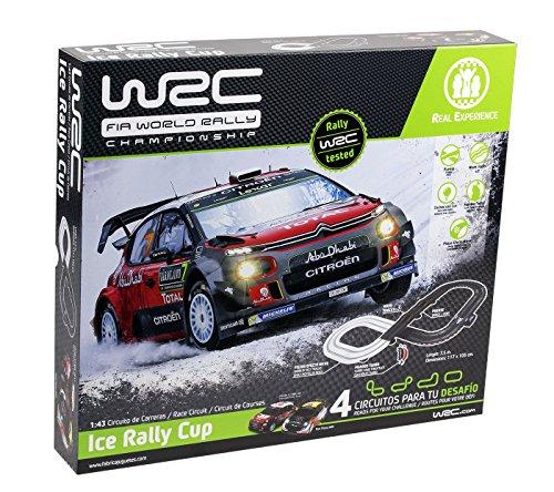 WRC- Ice Rally Cup Slot mandos inalámbricos, 2 Coches con luz led, Puente, Tramo con baches, Pista con Efecto Nieve y óptimas Curvas, CREA 4 Distintos circuitos para tu desafío, Color Negro (91000)
