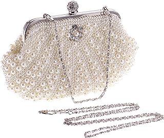 BESTOYARD Abendtasche Perle Handtasche Damen Hochzeit Kupplungen Party Bankett Taschen für Frauen Mädchen (weiß)