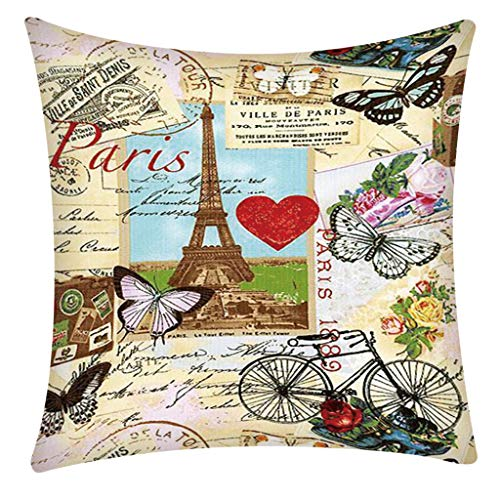 Square Pillow Case Paris Tower for Living Room Print Pillow Case Polyester Sofa Car Cushion Cover Home Decor 45 X 45cm