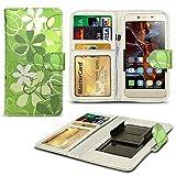N4U ONLINE® Verschiedene Muster Clip Serie Kunstleder Brieftasche Hülle für Doogee F3 - grün Blumen