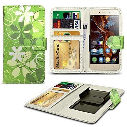 N4U ONLINE® Verschiedene Muster Clip Serie Kunstleder Brieftasche Hülle für Oppo R1 R829T - grün Blumen