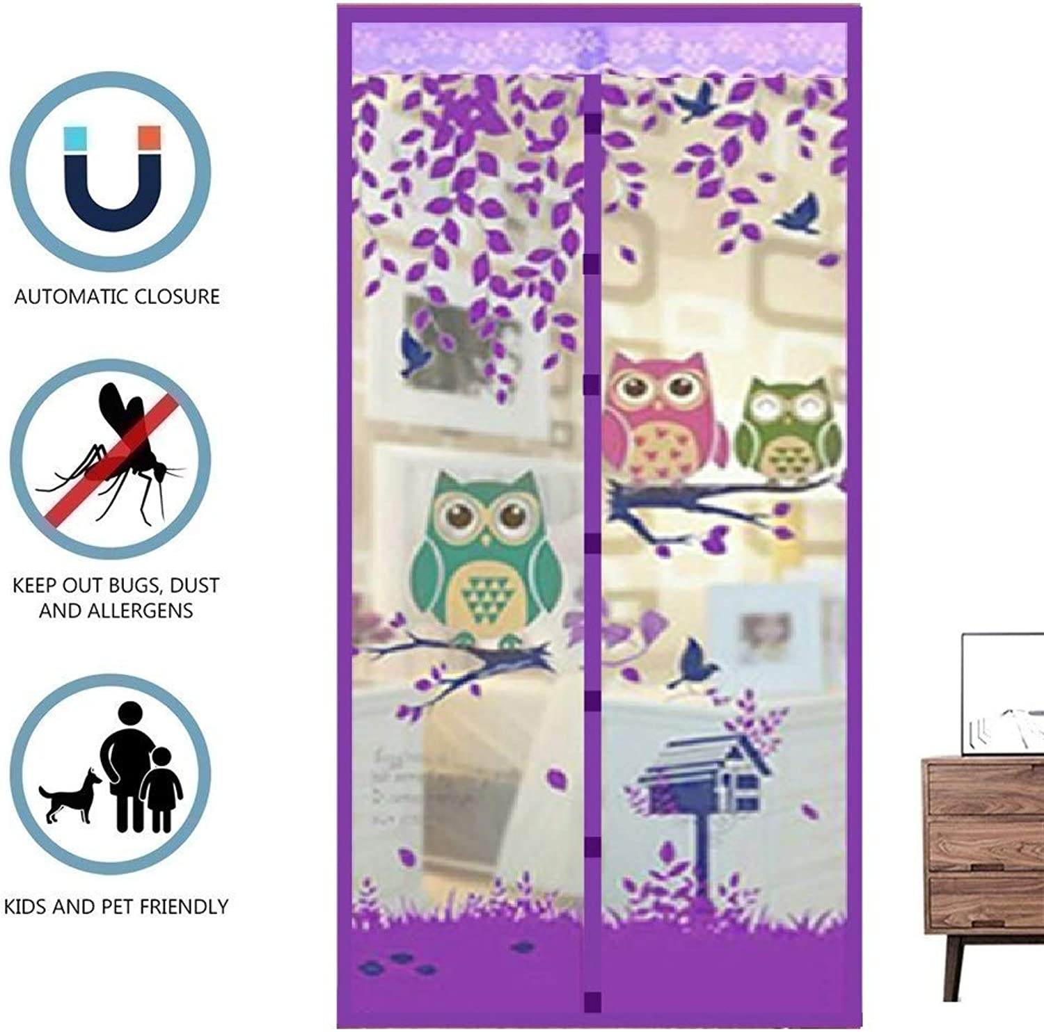 Fly Screen Door,Magnetic Fly Insect Screen Door Screen Mesh Curtain,Easy to Install Without Drilling,Purple,90  200cm