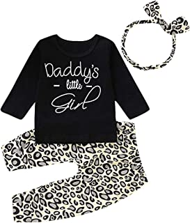 Newborn Infant Baby Girl Daddy's Little Girl Leopard Outfit Long Sleeve Shirts Tops Long Pants Headband 3pcs Clothes Set