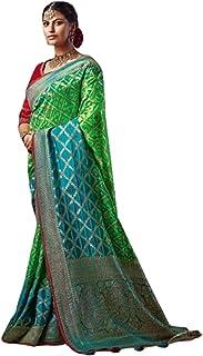 GREEN Indian Woman Wedding Swarovski Pallu Saree Pure Soft Silk Bandhej Weaving Bridal Bandhani Sari Blouse 6246 2