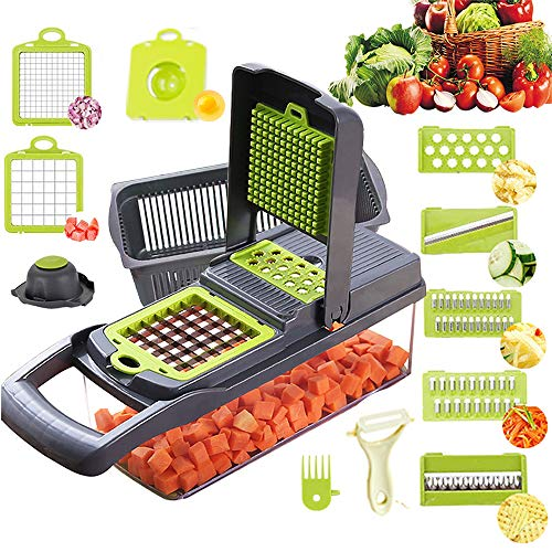 Vegetable Chopper Mandoline Slicer Cutter Chopper and Grater 11 in 1 Vegetable Slicer Potato Onion...