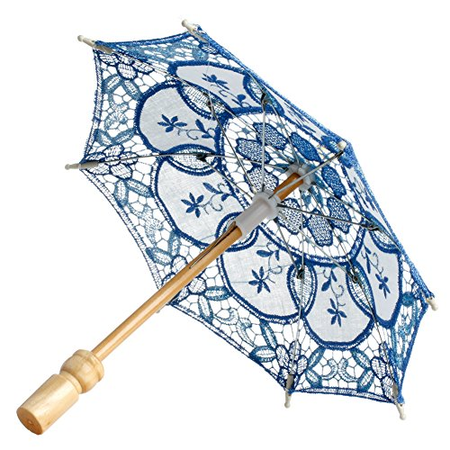 Peachshop Lace Embroidered Parasol Umbrella for Bridal Wedding Party Cosplay (Blue)