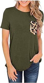 Women O-neck Short Sleeve Tops, Ladies Leopard Pocket T-shirt Blouse Pullover Top