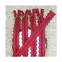 MLKCL 5/10個25 cm 10インチDIYレースナイロンジッパースティッチ制裁ステッチ (Color : Wine red, Size : 25cm)