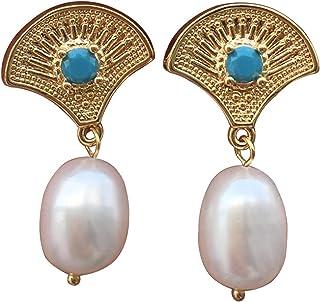 Pendientes de perlas de agua dulce blancas