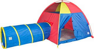 Pacific Play Tents 20414 Kids Hide-Me Dome Tent and Crawl Tunnel Combo for Indoor/Outdoor Play Red/Yellow/Blue