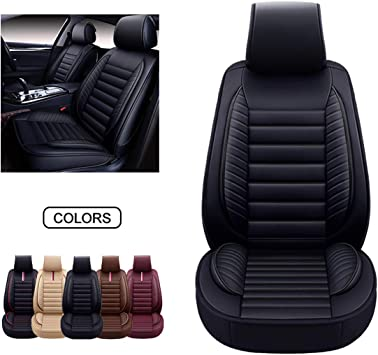 OASIS AUTO Leather Car Seat Covers, Faux Leatherette Automotive Vehicle Cushion Cover for Cars SUV Pick-up Truck Universal Fit Set for Auto Interior Accessories (OS-001 Front Pair, Black): image