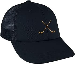 Speedy Pros Hockey Sticks Embroidery Design Low Crown Mesh Golf Snapback Hat Navy