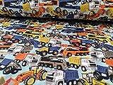 Jersey Stoff mit bunten Autos und LKWs in Retrofarben als