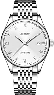 Aesop Fashion Men Date Analog Automatic Self Winding Mechanical Wrist Watch with Steel Band Luminous Silver White