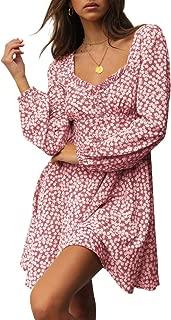 Bigyonger Womens Ruffle Neck Floral Print Dress High Waist Long Sleeve A-Line Sundress