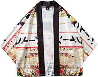 Japanese Geisha Kimono Cardigan Casual Loose Short Sleeve Men Cardigans Drape Collar Open Front Coat