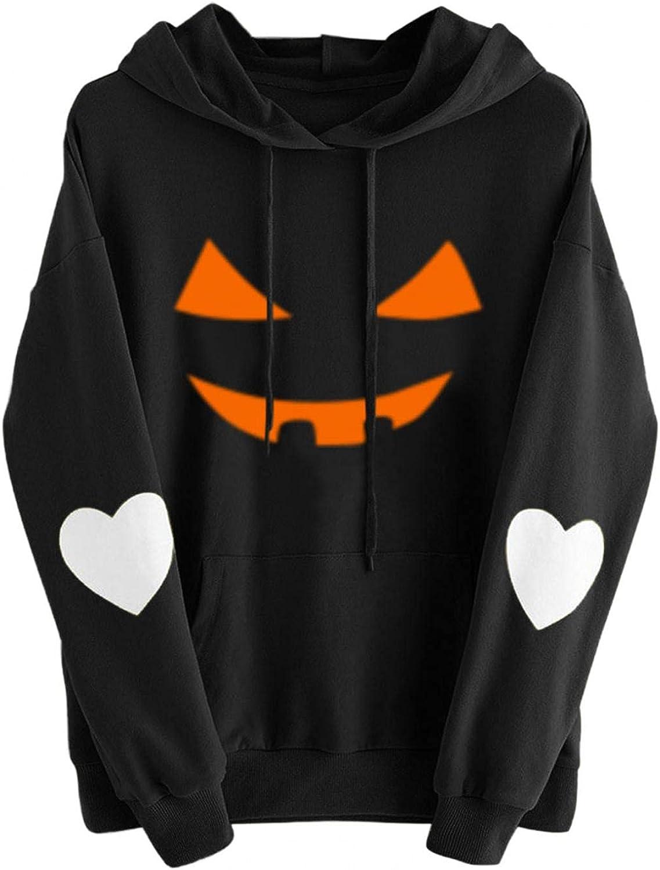 AIHOU Halloween Shirts for Women Pumpkin Face Funny Print Graphic Hoodies Long Sleeve Sweatshirt for Women Pullover Tops