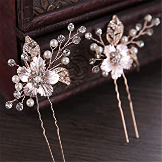 LUKEEXIN 2 Pcs Headdress Bride Hairpin Rhinestone Wedding Hairpin Pearl Hairpin (Color : Golden)