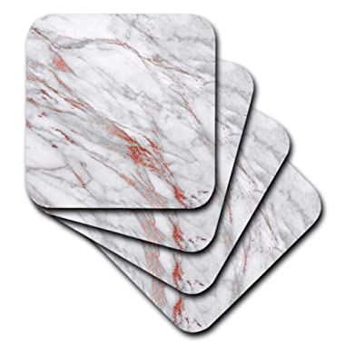 3dRose Copper Metal Foil and Ombre Gemstone Grey Marble, set of 8 Soft Coasters