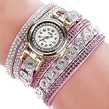 -Reloj para mujer de Sonnena, correa de metal y reloj analógico con pulsera de joyas, informal, ideal para fiestas, discotecas, regalo ideal para San Valentín, de acero inoxidable, morado, Bracelet