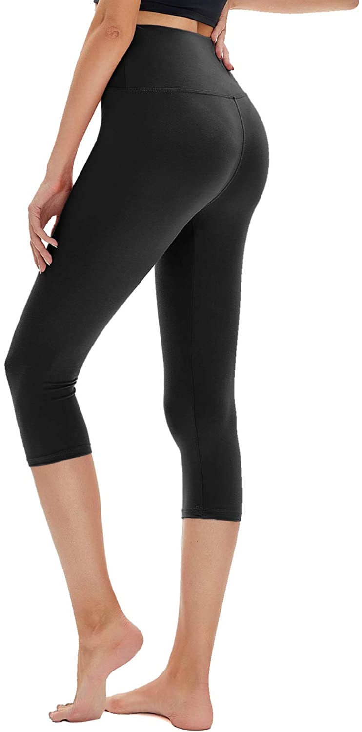 TNNZEET Buttery Soft Printed Capri Leggings for Women, High Waisted Womens Black Yoga Workout Athletic Pants