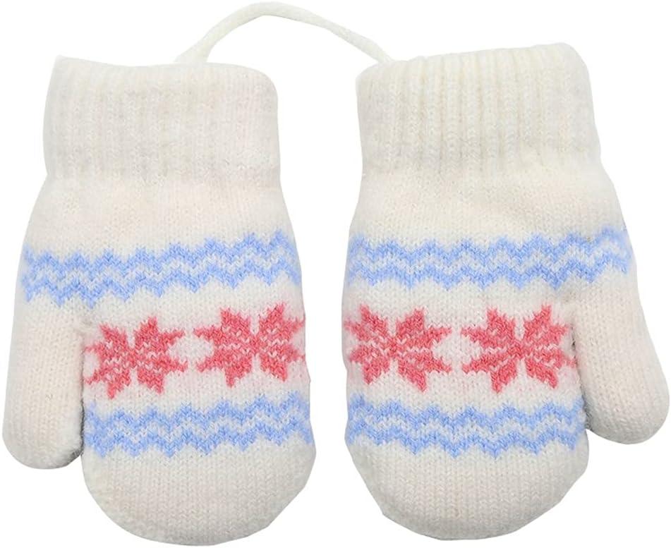 WBDL Winter Kids Gloves New Children's Small Snowflake Alpaca Wool Thick Warm Knitted Mittens Newborn Baby Gloves Mittens