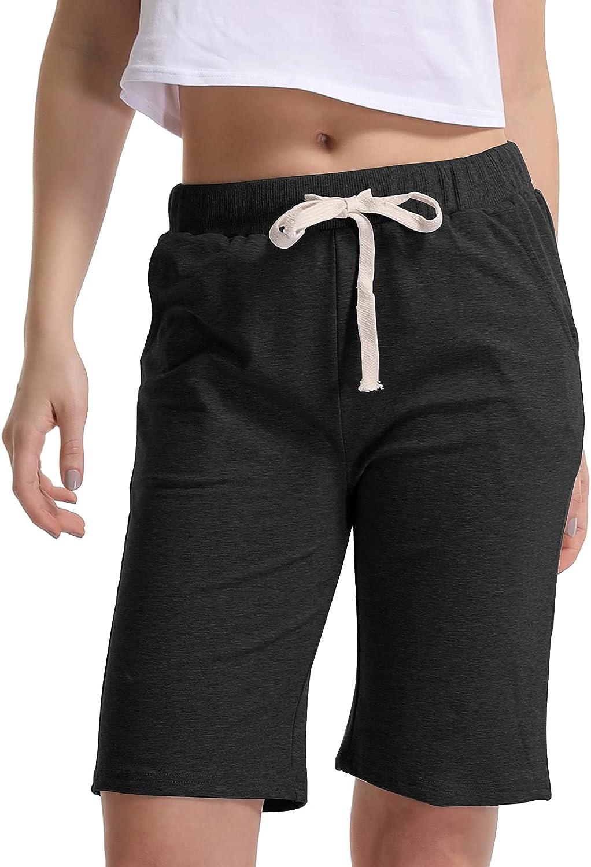 Gooket Women's Elastic Waist Soft Jersey Knit Bermuda Shorts with Drawstring
