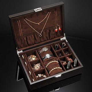 ECSWP SWGNSMQP Bijoux Boîte de Rangement, boîte de Bijoux en Bois Chinois, Bijoux Organisateur Boîte Compartments for Bouc...