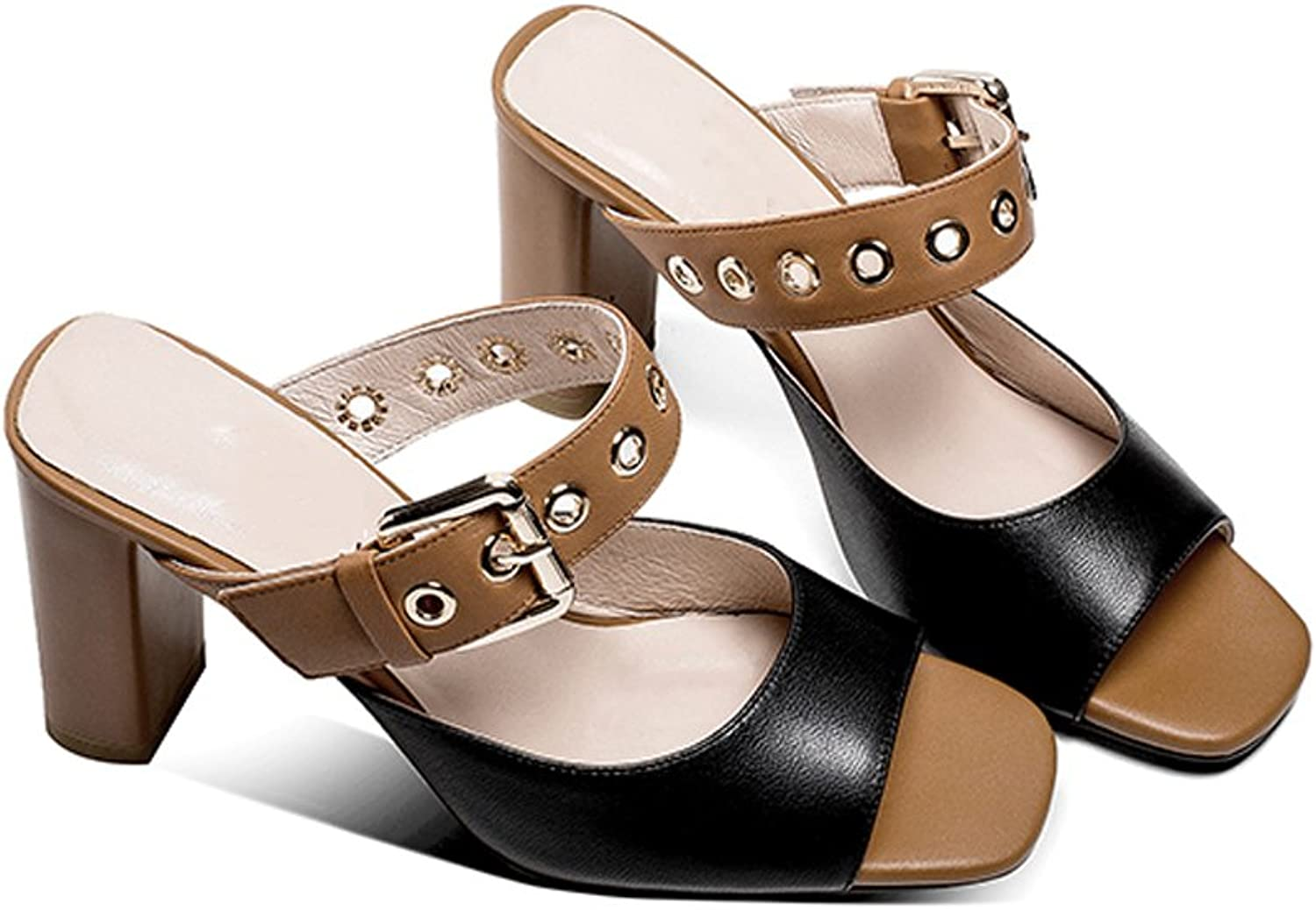 YUBIN Full Leather shoes Retro Sandals Belt Buckle Sexy Open-Toed Sandals and Slippers Women Wear (color   Black, Size   35)
