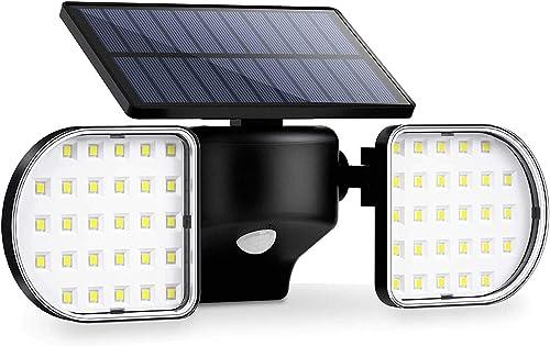 OUSFOT Luz Solar Exterior 56 LED Foco Solar con Sensor de Movimiento Lámpara Solar de Seguridad Impermeable IP65 360 ...