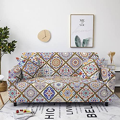 AHKGGM Funda de sofá Estampada Flor Mandala Azul y Blanca 3 plazas: 190-230cm