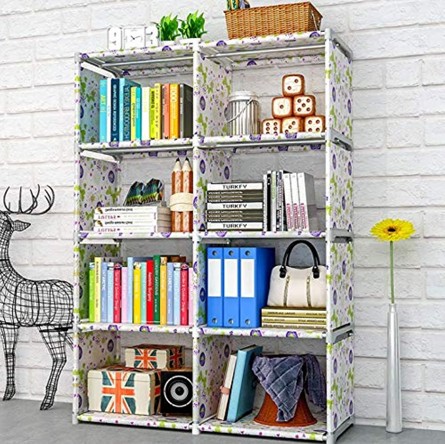 Minimalist Modern Floored Book Shelf Simple Assembled Nonwoven Fabric Student Shelves for Home Fashion DIY Creative Bookshelf,C