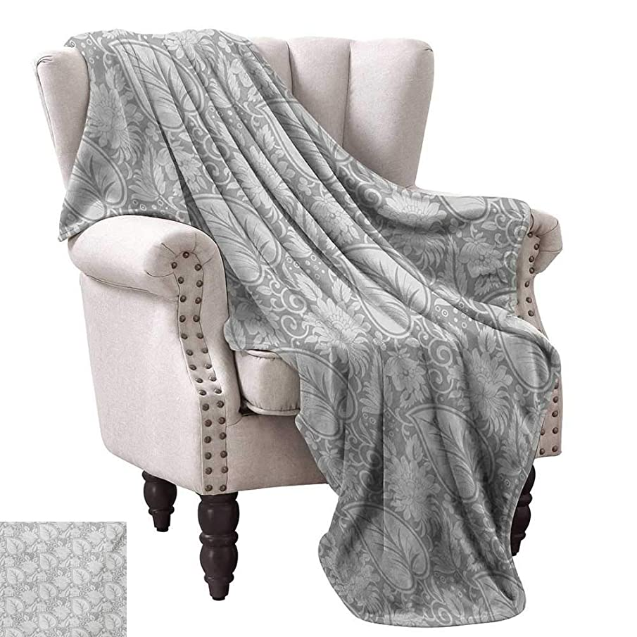 WinfreyDecor Grey Super Soft Blankets Big Leaves on Old Fashion Floral Background Feminine Dramatic Style Retro Graphic Print Traveling,Hiking,Camping,Full Queen,TV,Cabin 50