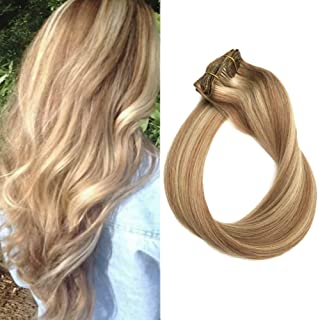 Clip in Hair Extensions Human Hair Blonde Highlights 70grams 15