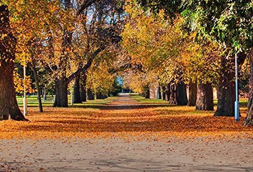 OERJU 12x10ft Super popular specialty store Autumn Forest Backdrop Park trust Leaves N Golden Fallen