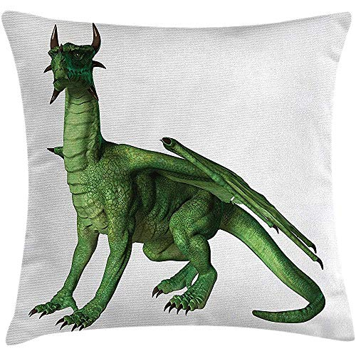 Babydo Kussensloop voor kinderen Decor Kussensloop, lelijk maar schattig draak staand en uitziend miniatuur Dino Like Image Print, decoratieve vierkante Accent kussensloop, 45X45cm, groen en wit