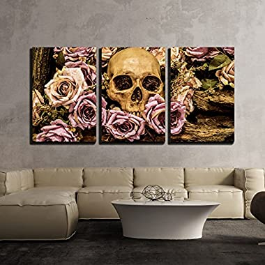 wall26 - Human Skull Roses Background - Canvas Art Wall Decor - 16 x24 x3 Panels