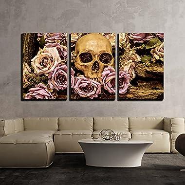 wall26 - Human Skull Roses Background - Canvas Art Wall Decor - 16 x24 x3 Panels