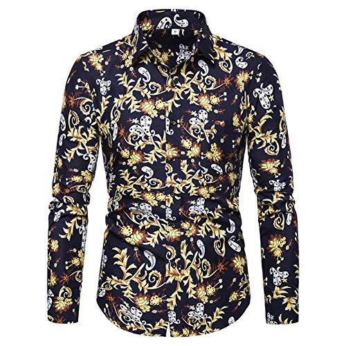 CHENS Camisa/Casual/Unisex/L Verano Ocio Extranjero Moda Hombre Cuadrado Collar Fila Botón Manga Larga Hombres de Gran tamaño Camisa de Flores