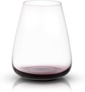 JoyJolt Copas de vino sin tallo de cisne negro, cristal premium, capacidad de 24 onzas, juego de 4
