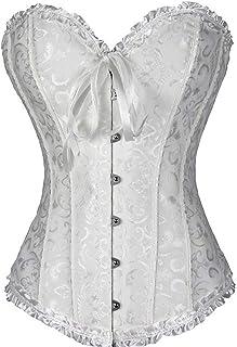 PhilaeEC Frauen Bridal Wäsche schnürt sich oben Satin ohne Knochen Korsett mit G-Schnur